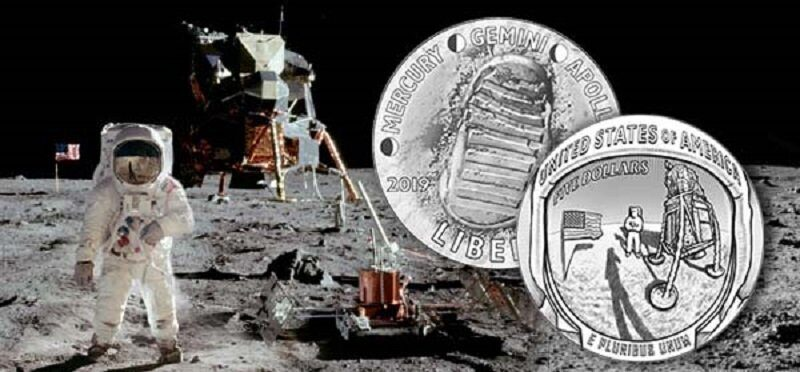 In the US, minted curved coins in honor of the anniversary of the landing of Americans on the moon