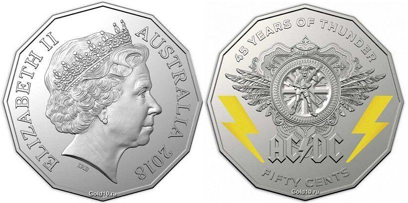 В Австралии отчеканили памятные монеты в честь 45-летия рок-группы АС-DС