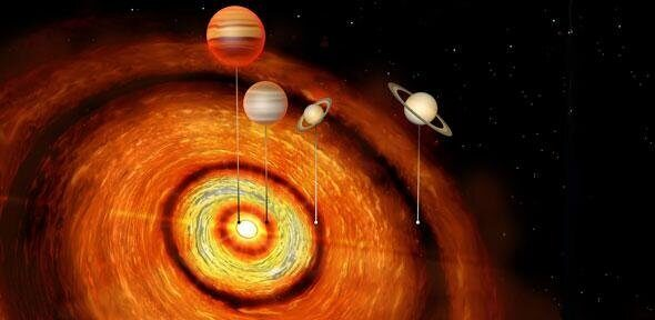 На орбите новорожденной звезды обнаружили планеты-гиганты космическая загадка